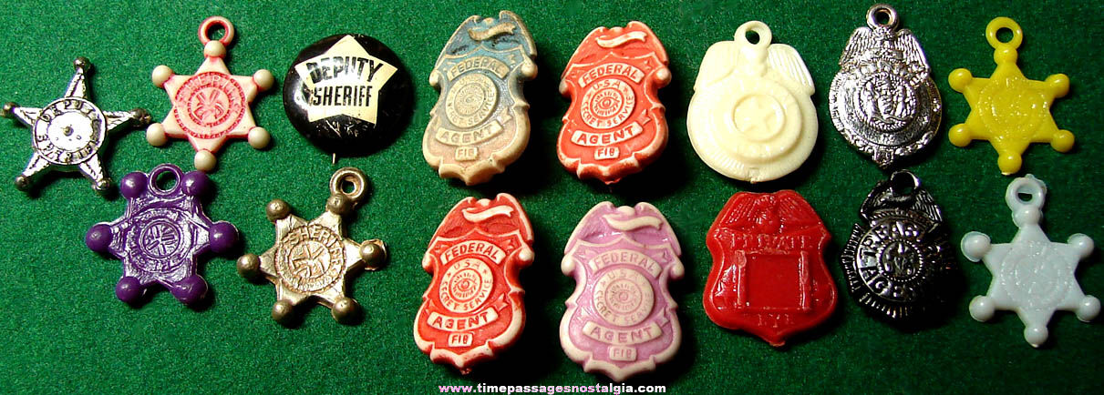 (15) Old Miniature Gum Ball Machine Toy Prize Police Badge Charms & Pins