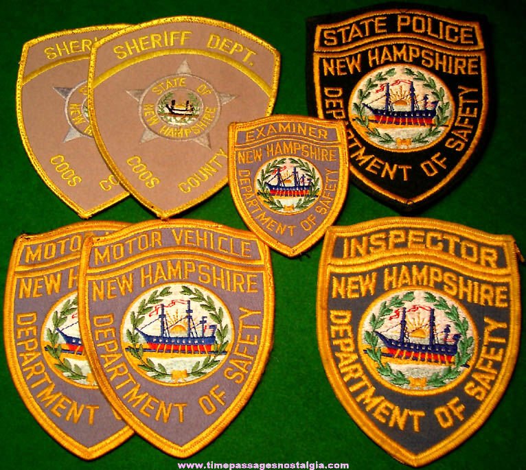 (7) New Hampshire Embroidered Cloth Police Uniform Patches