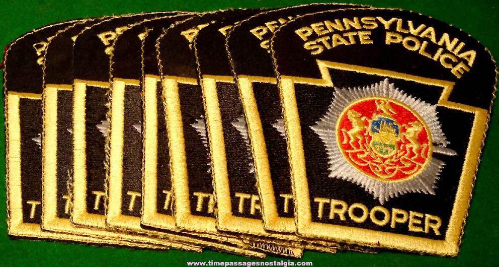 (9) Unused Pennsylvania State Police Trooper Embroidered Cloth Uniform Patches
