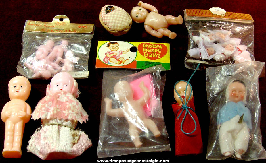 (14) Old Miniature Hard Plastic Toy Baby Doll Figures