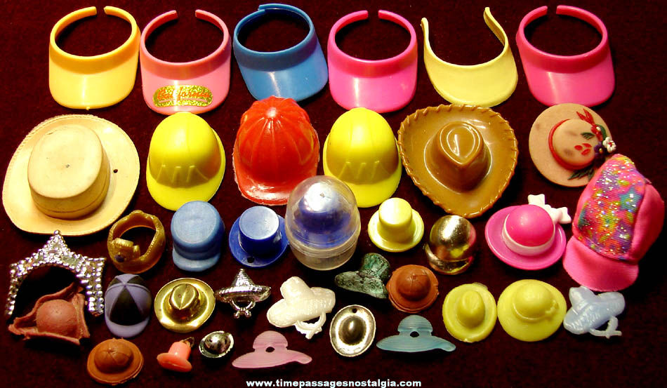 (37) Colorful Miniature or Toy Doll Hats or Head Wear Items