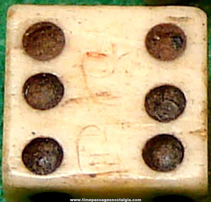 (3) 18th or 19th Century Miniature Bone Game or Gambling Dice (One has tax mark)