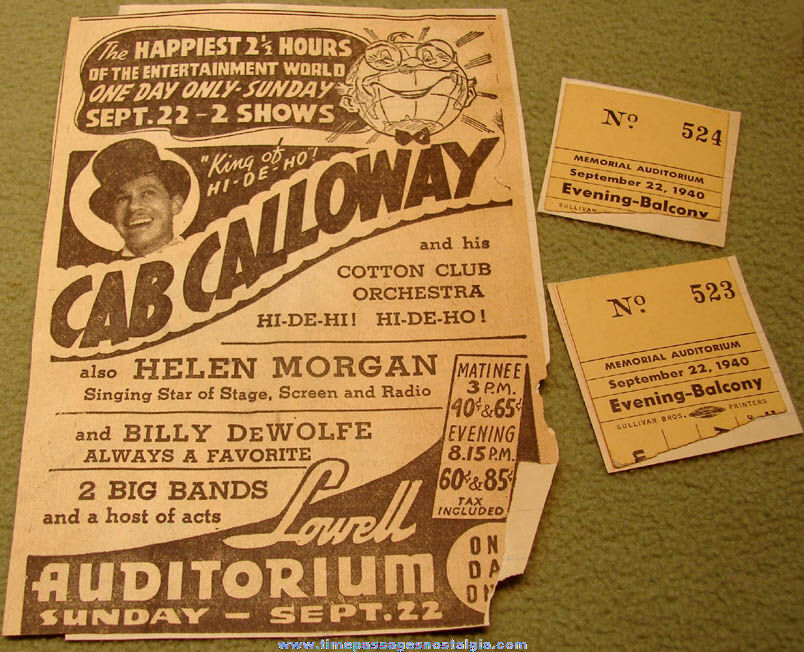 1940 Cab Calloway Lowell Memorial Auditorium Advertisement & (2) Ticket Stubs