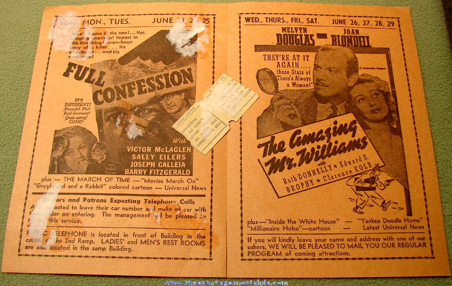 1940 Weymouth Massachusetts Drive In Movie Theatre Advertising Program with Ticket Stubs