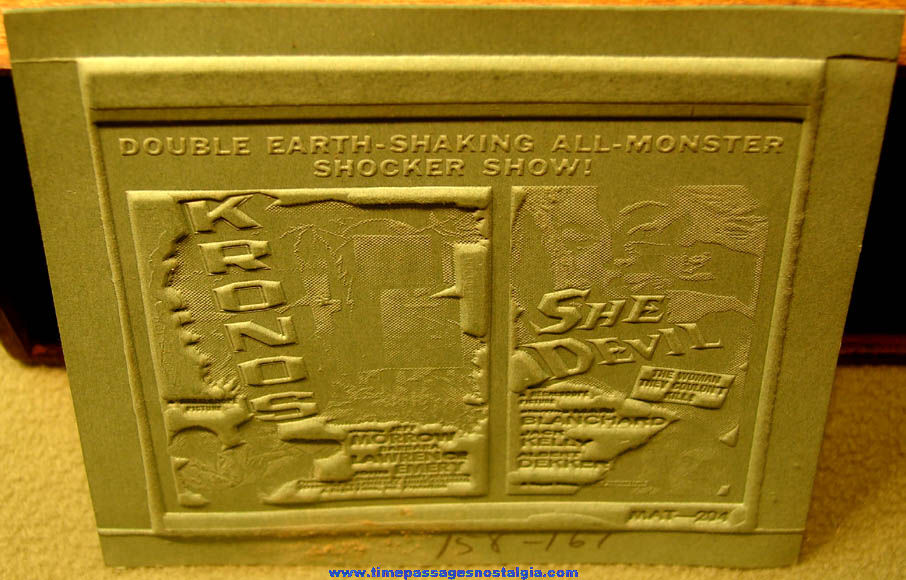 Unused ©1957 Kronos and She Devil Double Feature Horror Movie Ad Mat Mold