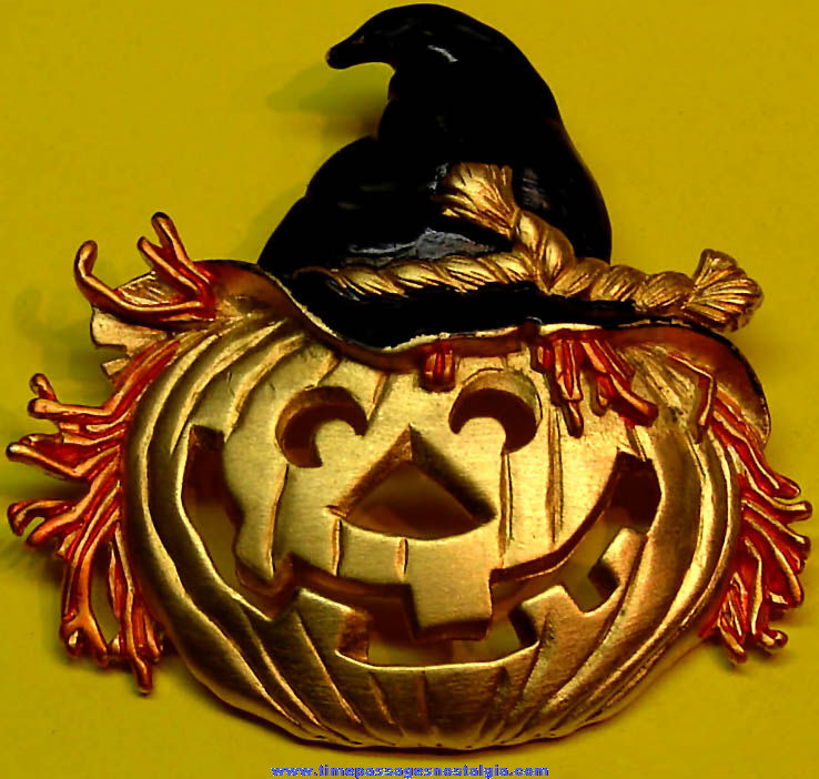 Halloween Holiday Jack O Lantern Witch Metal Costume Jewelry Pin