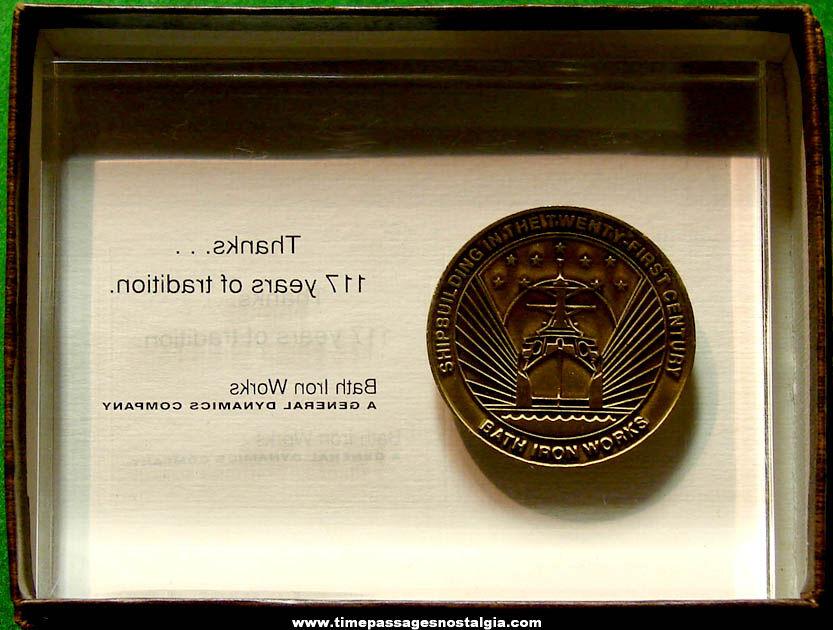 Boxed ©2001 United States Navy U.S.S. Mason DDG-87 Bath Iron Works Award With Medal