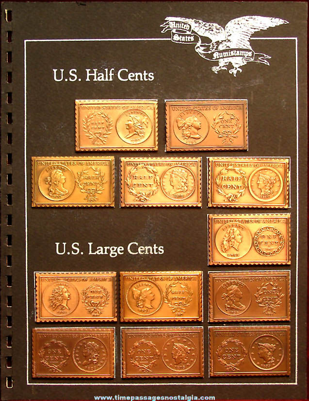 (12) Different ©1976-1978 United States Half Cent & Large Cent Numistamps