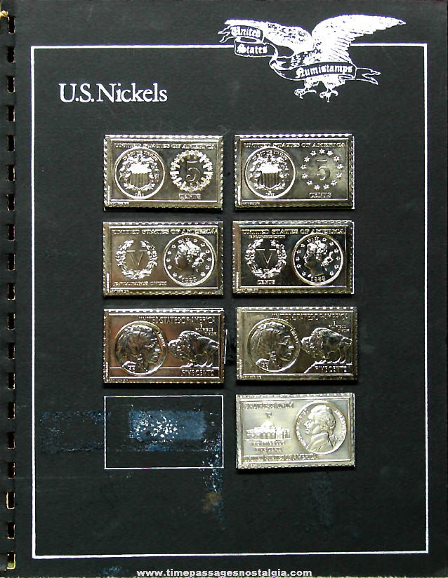 (7) Different ©1972-1973 United States Nickel Coin Numistamps