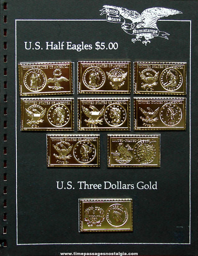 (9) Different ©1980 United States Gold 3 Dollar & Half Eagle Coin Numistamps