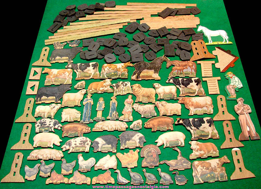 (143) Old Farm Animals, People, and Parts Cardboard Toy Play Set Items