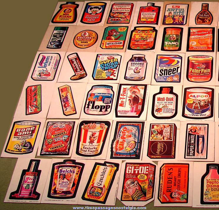 (71) Old Topps Wacky Packages Parody Advertising Sticker Trading Cards
