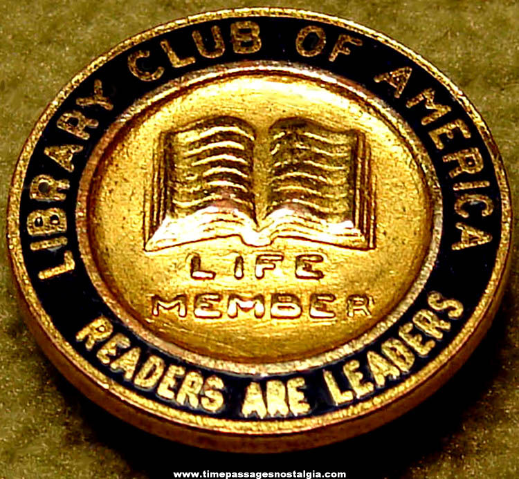 Enameled Library Club of America Life Membership Pin