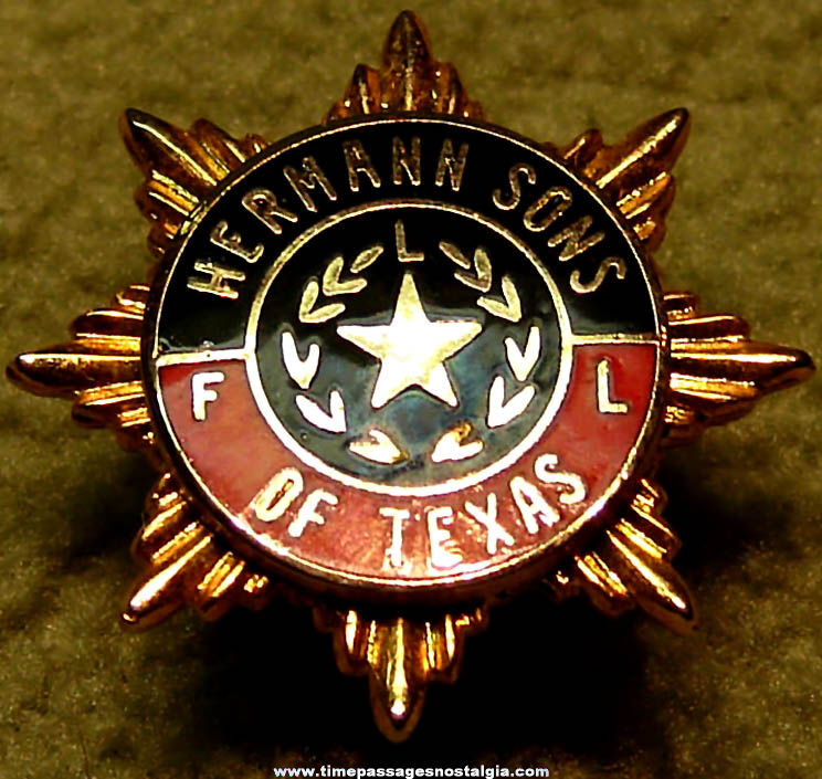 Enameled Hermann Sons of Texas Advertising Membership Pin