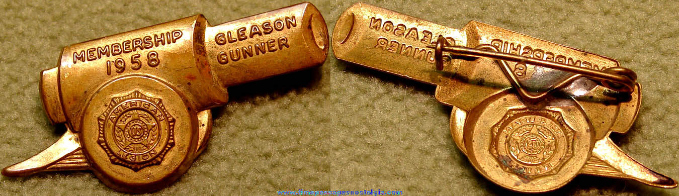 1958 United States American Legion Membership Brass Cannon Pin