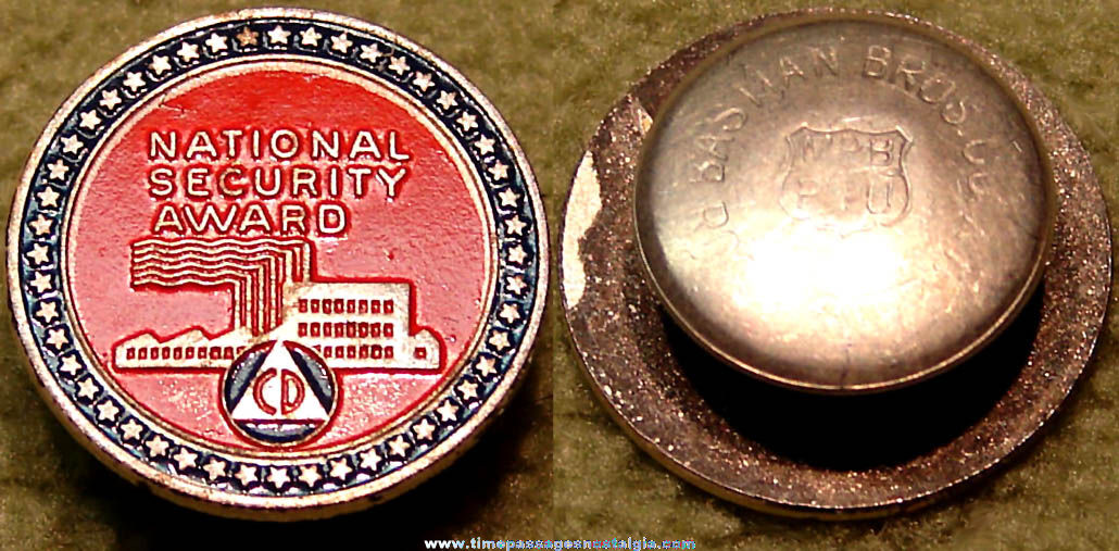 Old United States Civil Defense National Security Award Lapel Stud Button