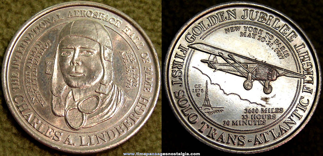 ©1975 Charles Lindbergh International Aerospace Hall of Fame Golden Jubilee Coin