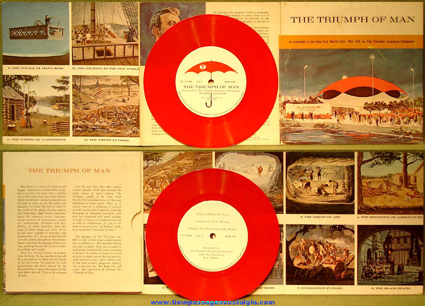 1964 - 1965 New York World's Fair Triumph of Man Record & Cover Exhibit Souvenir