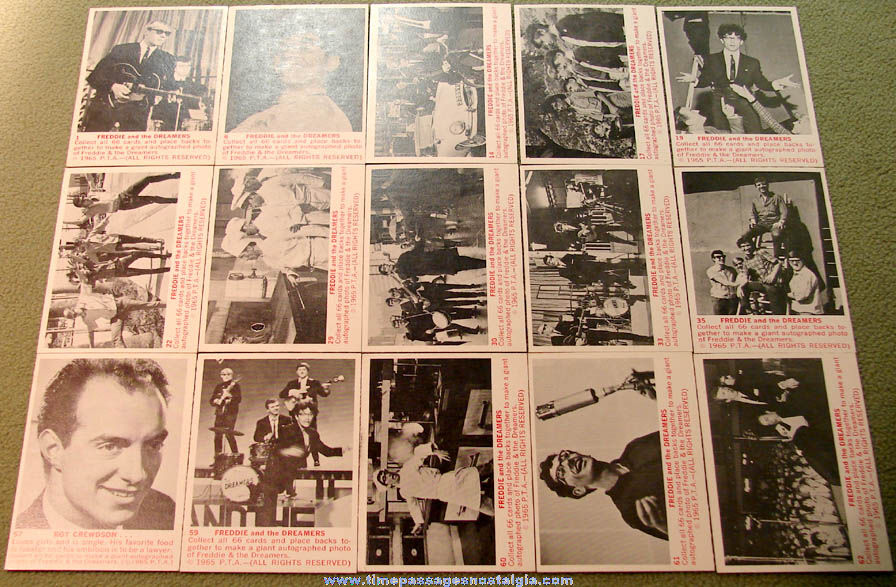 (15) ©1965 Freddie & The Dreamers Bubble Gum Non Sports Trading Cards