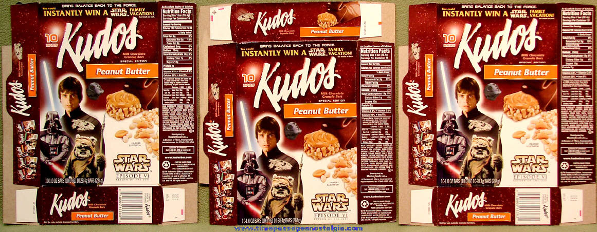 (3) Different ©2005 Star Wars Return of The Jedi Character Kudos Granola Bar Advertising Boxes
