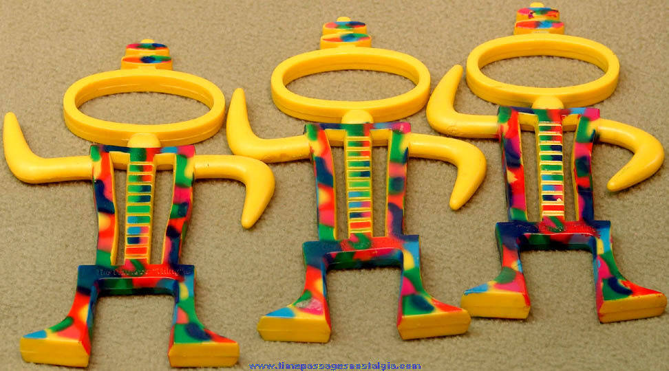 (3) Colorful 1990s Nabisco Thing Advertising Character Novelty Bendy Figures