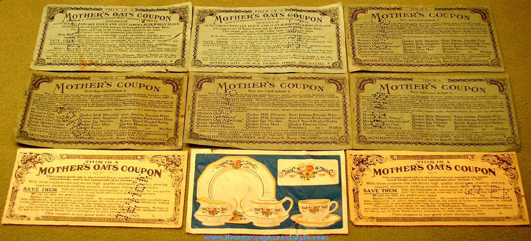 (9) 1920s & 1930s Mother's Oats Cereal Advertising Premium Coupons