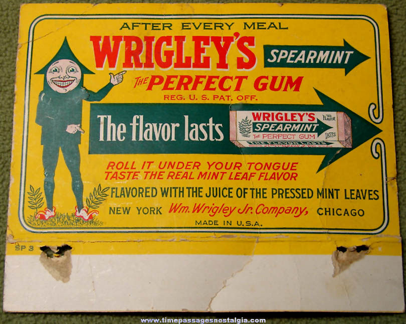 Early Colorful Wrigley's Spearmint Chewing Gum Two Sided Advertising Sign