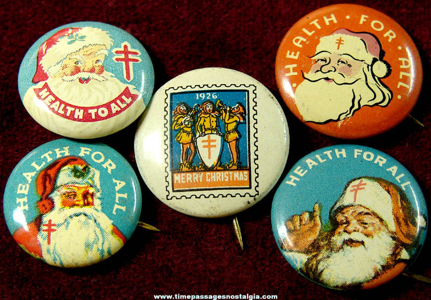 (5) Different Colorful Old Santa Claus Christmas Advertising Tin Pin Back Buttons