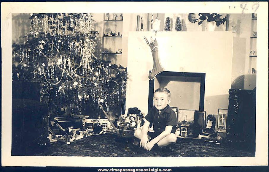 1949 Black & White Christmas Photograph with A Boy and Toys
