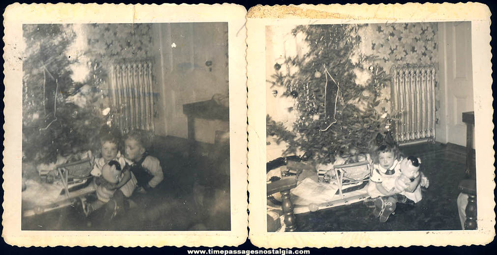 (2) 1952 Black & White Christmas Photographs with Children and Toys