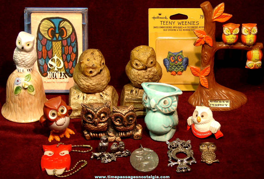 (15) Different Small Old Owl Bird Related Items