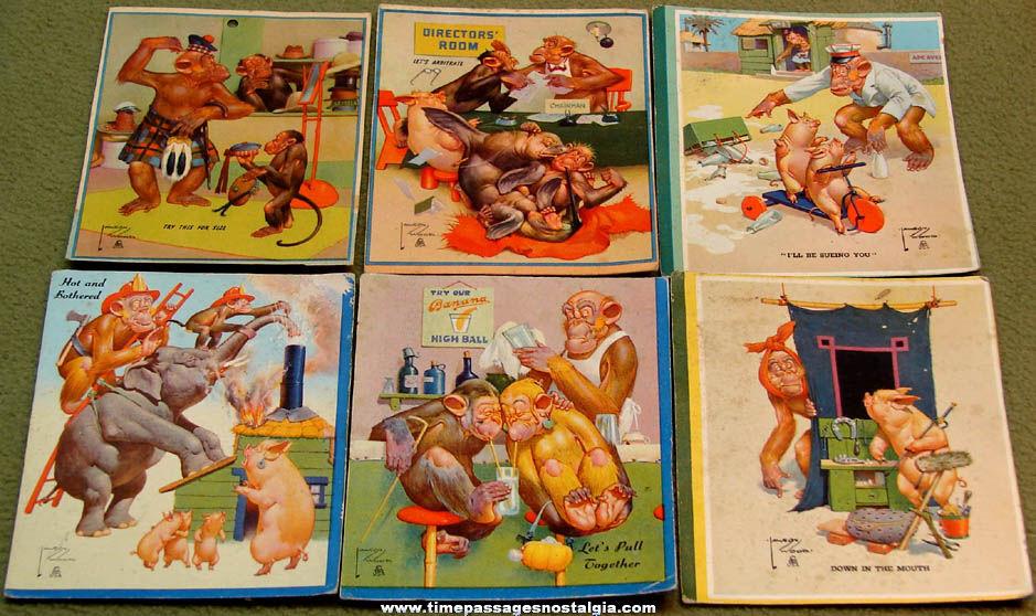 (6) Small 1940s Lawson Wood Brown & Bigelow Comic Monkey Ink Pen Blotters