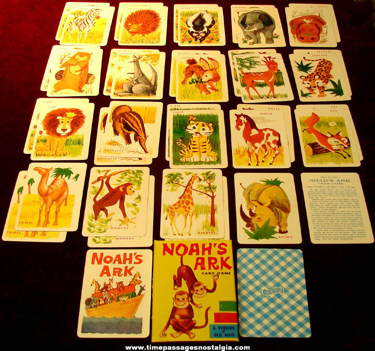 Colorful Old Boxed Fairchild Noah's Ark Animal Card Game