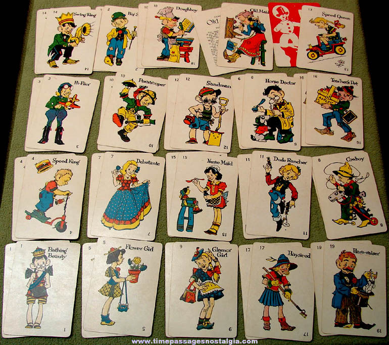 Colorful ©1936 Milton Bradley Old Maid Character Card Game