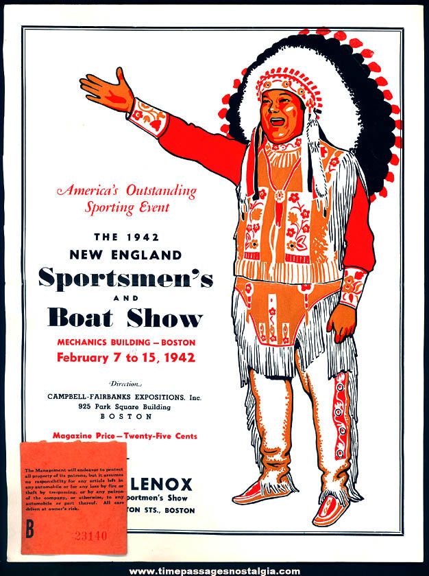 1942 New England Sportsmen's and Boat Show Advertisement & Ticket Stub