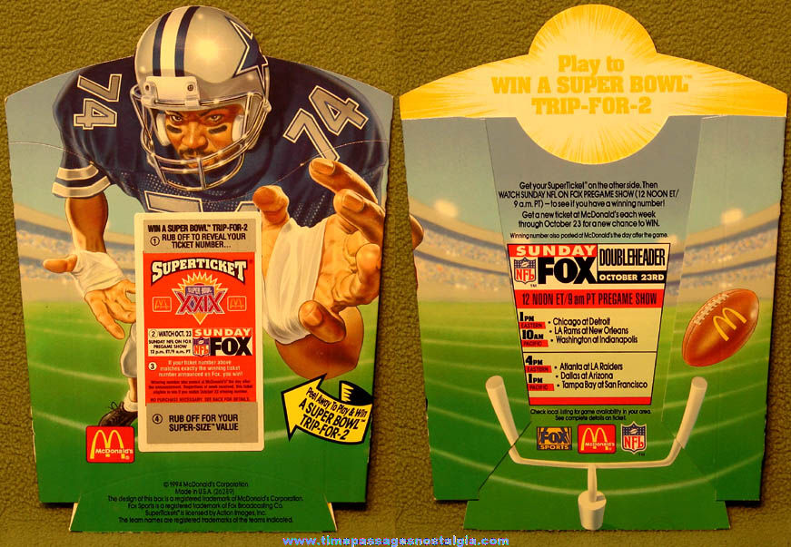 Unused ©1994 McDonald's Restaurant Superbowl XXIX Contest Advertising French Fry Box Holder