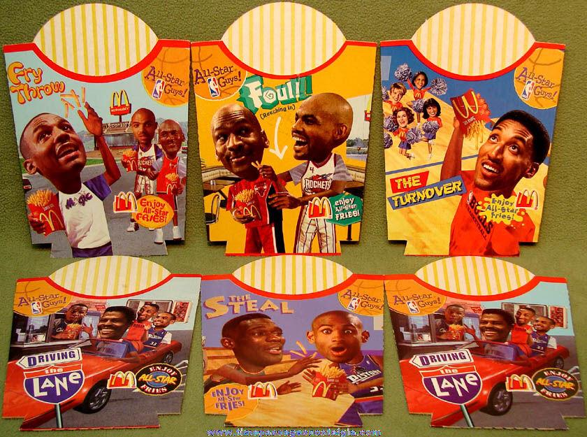 (6) Unused ©1996 McDonald's Restaurant Basketball All Star Guys Player Advertising French Fry Box Holders