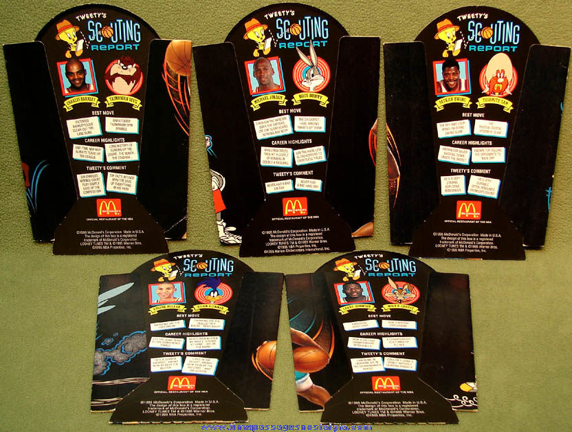 (5) Different Unused ©1995 McDonald's Restaurant Basketball Player & Cartoon Character Advertising French Fry Box Holders