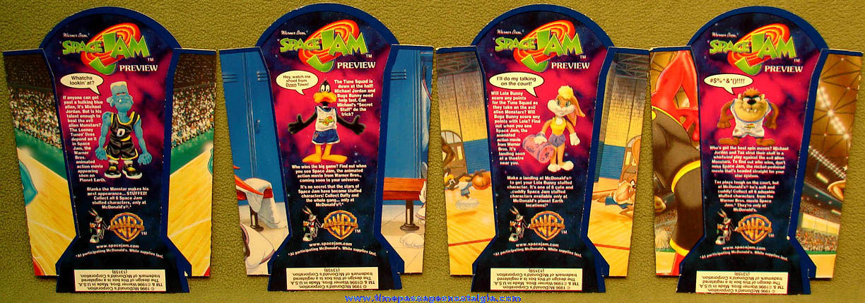 (4) Different Unused ©1996 McDonald's Restaurant Michael Jordan Basketball Player & Cartoon Character Advertising French Fry Box Holders