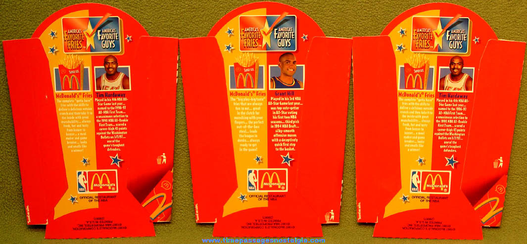 (3) Unused ©1997 McDonald's Restaurant Basketball America's Favorite Guys Player Advertising French Fry Box Holders