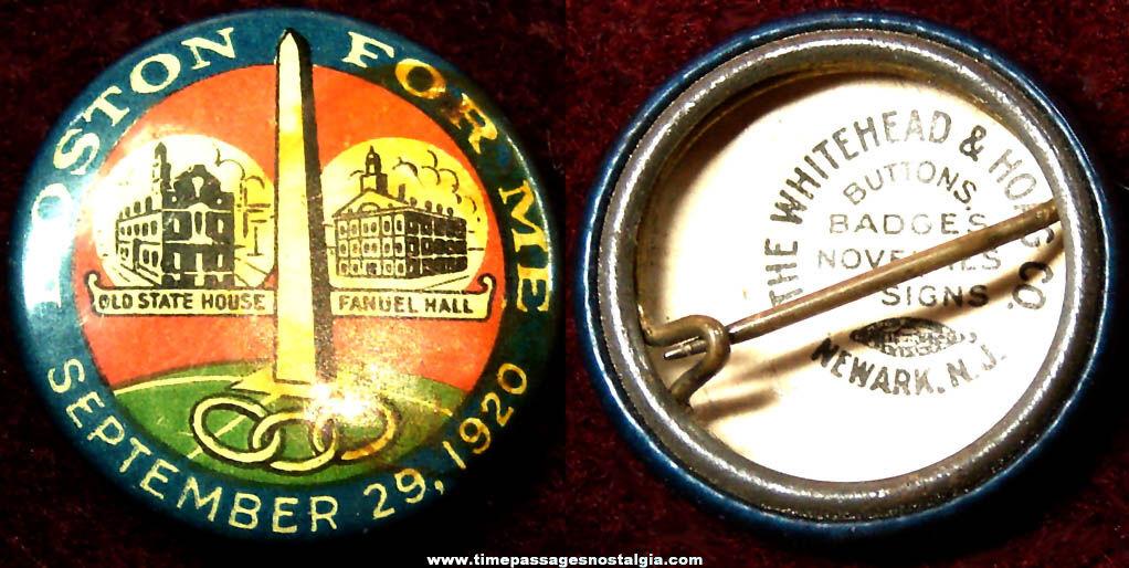1920 Boston For Me Advertising Souvenir Celluloid Pin Back Button