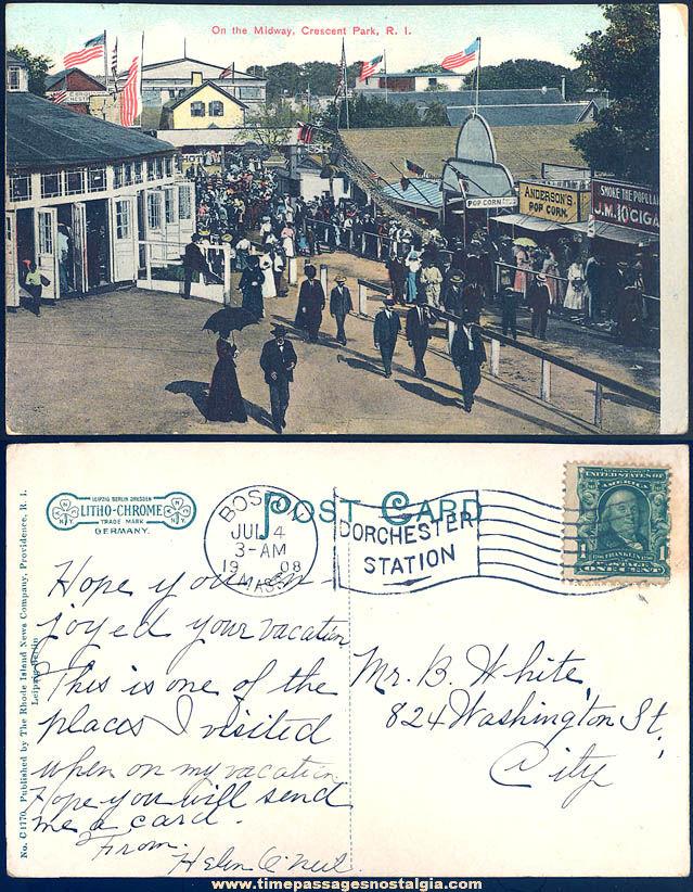 1908 Crescent Park Rhode Island Midway Fair Advertising Post Card
