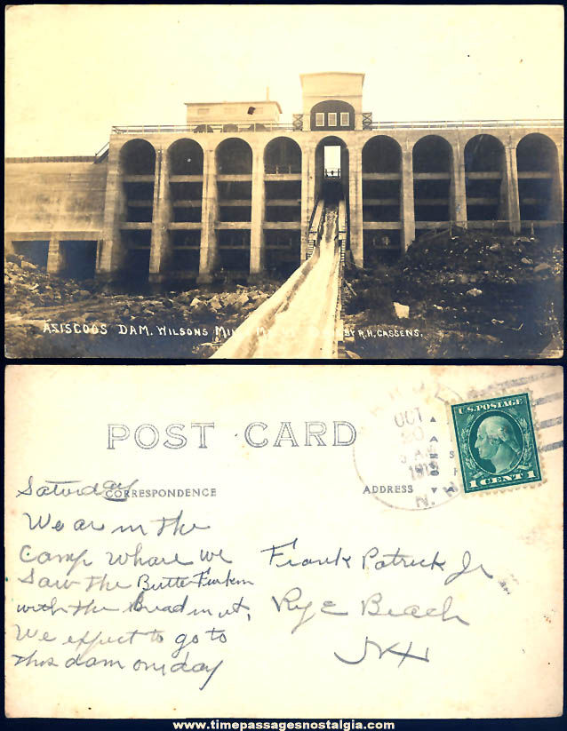 1919 Aziscoos Dam Wilsons Mills Maine Real Photo Post Card
