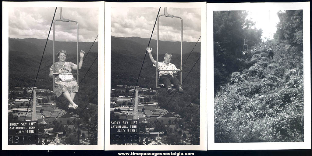 (9) Different Old Chair Lift Ride Photographs and Slides