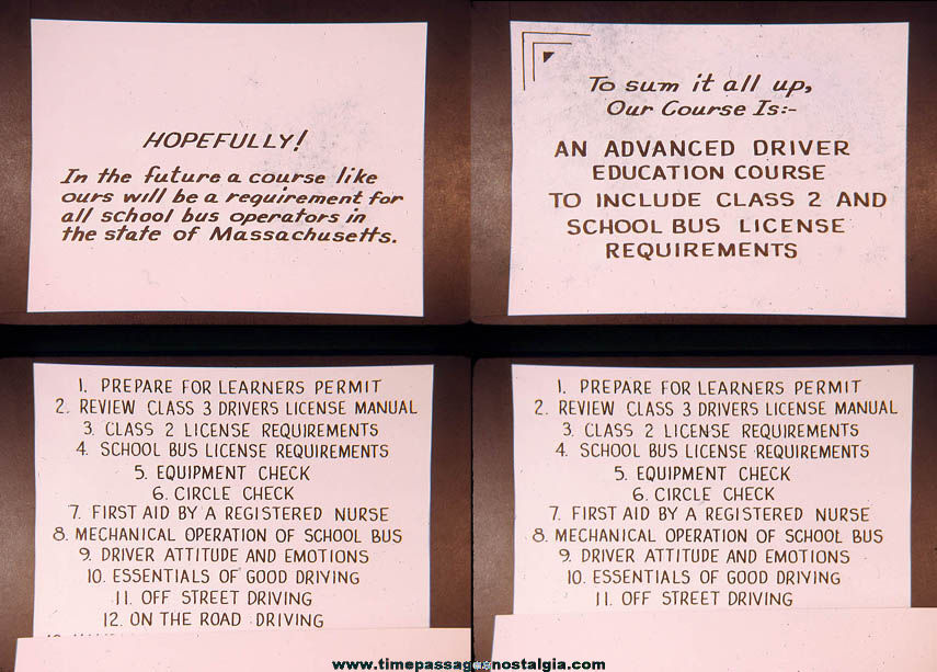 (28) 1973 Massachusetts Class 2 School Bus Driver License Training Photograph Slides