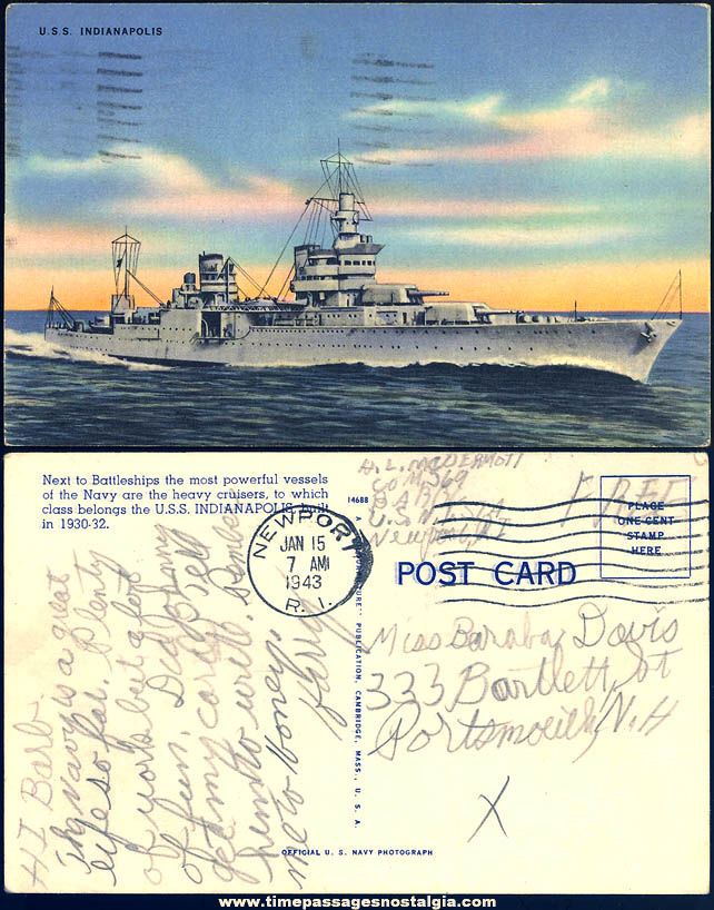 1943 United States Navy U.S.S. Indianapolis CA-35 Heavy Cruiser Linen Post Card