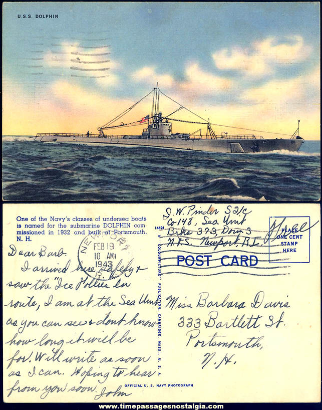 1943 United States Navy U.S.S. Dolphin SF-10/SC-3/SS-169 Submarine Linen Post Card