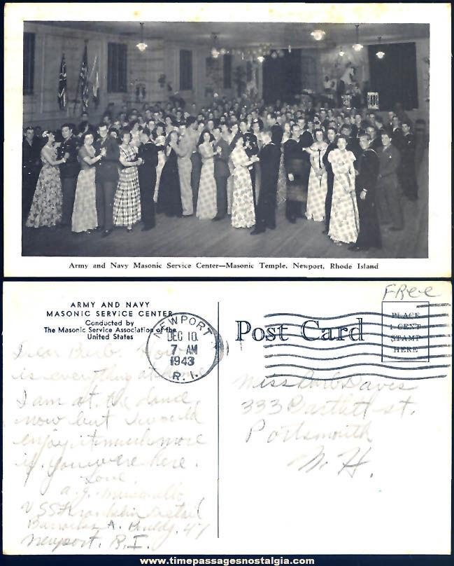 1943 Army & Navy Masonic Service Center Dance Newport Rhode Island Post Card