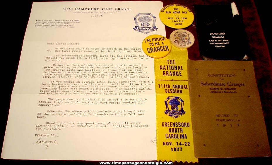(7) Different Old National Grange Patrons of Husbandry Fraternal Items