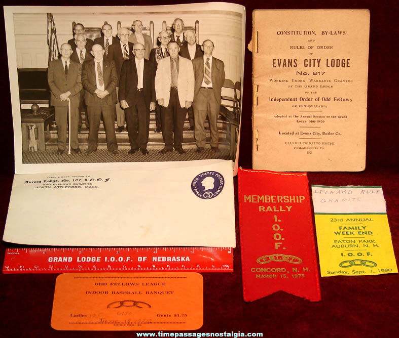 (7) Different Old Independent Order Of Odd Fellows I.O.O.F. Fraternal Items